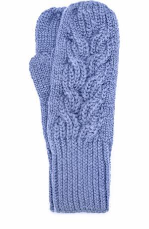 Шерстяные варежки фактурной вязки Karakoram accessories. Цвет: голубой