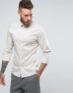 Hoxton Shirt Company Строгая рубашка узкого кроя из эластичного поплина Compan. Цвет: светло-серый