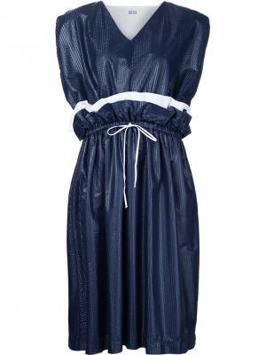 Платье с оборками и завязками на талии Arthur Arbesser. Цвет: синий