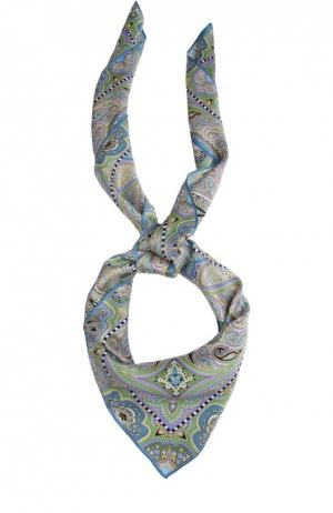 Шелковый платок с принтом Michele Binda. Цвет: зеленый