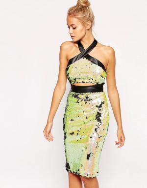 Lashes of London Расшитое пайетками платье с вырезом Friday Night. Цвет: мульти