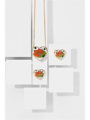 Набор украшений Сила любви: цепочка с кулоном и серьги Nothing but Love. Цвет: золотистый, белый, оранжевый