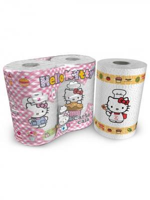 Полотенца кухонные Hello Kitty 3-х слойные с рисунком, 2 рулона по 80 листов, 18.4 м World Cart. Цвет: белый