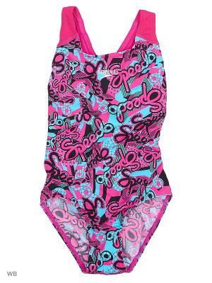 Слитный купальник Speedo. Цвет: розовый, голубой, черный