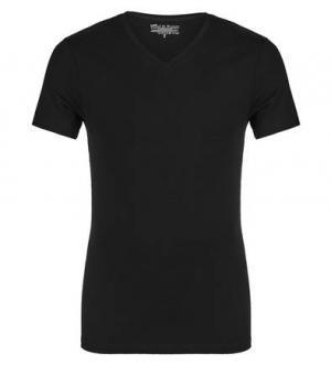 Черная футболка с треугольным вырезом Bread&Boxers. Цвет: черный