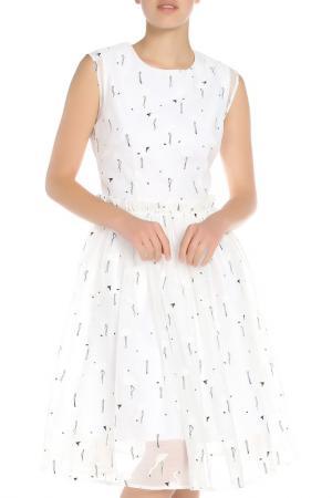 Платье Ketroy. Цвет: белый, фламинго
