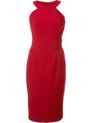 Облегающее платье с круглым вырезом Black Halo. Цвет: красный