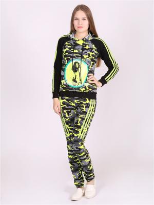 Спортивный костюм Flip. Цвет: темно-зеленый, желтый