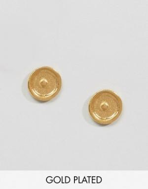 Ottoman Hands Серьги-гвоздики с символом Солнца. Цвет: золотой