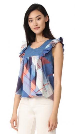 Блуза Farmstand Warm. Цвет: голубой/коралловый