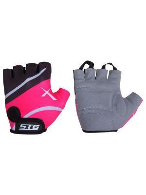 Велоперчатки STG. Цвет: красный, черный