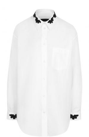 Хлопковая блуза с контрастной вышивкой Simone Rocha. Цвет: черно-белый