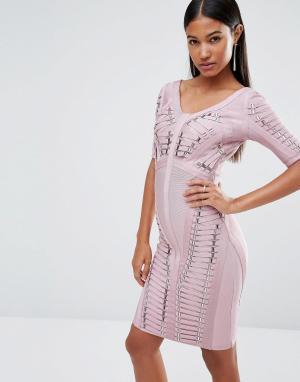 Wow Couture Бандажное платье. Цвет: розовый