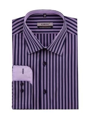Рубашка GREG. Цвет: темно-синий, сиреневый