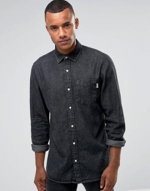 Jack & Jones Выбеленная черная джинсовая рубашка свободного кроя Intel. Цвет: черный