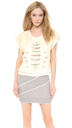 Пуловер с короткими рукавами и кристаллами Jay Ahr. Цвет: серый