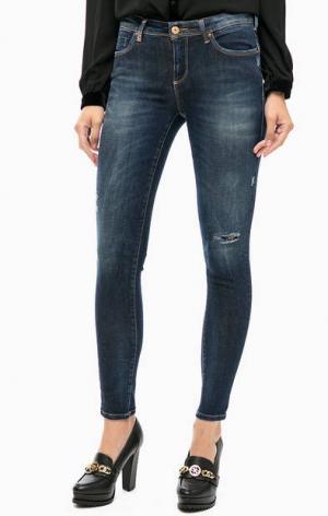 Синие зауженные джинсы с отделкой стразами Kocca. Цвет: синий