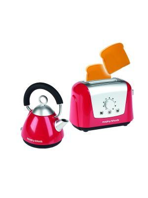 Набор для завтрака Morphy Richards (чайник, тостер, 2 имитационных кусочка хлеба в комплекте) Casdon. Цвет: розовый
