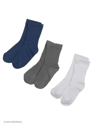 Носки - 3 пары Гамма. Цвет: серый, белый, темно-синий