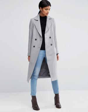 ASOS Полушерстяное пальто. Цвет: серый