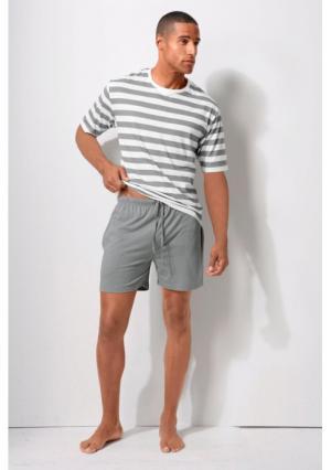 Пижама H.I.S.. Цвет: серый/кремовый, темно-синий/кремовый