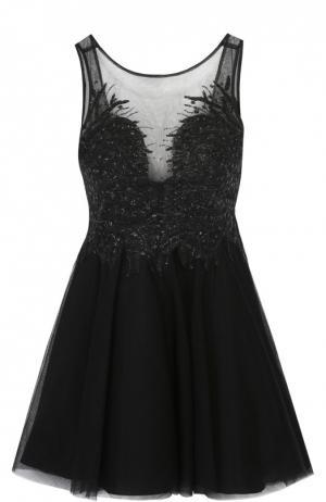 Приталенное мини-платье с вышивкой и открытой спиной Basix Black Label. Цвет: черный