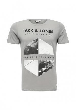 Футболка Jack & Jones. Цвет: серый