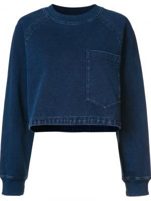 Укороченная толстовка Ag Jeans. Цвет: синий