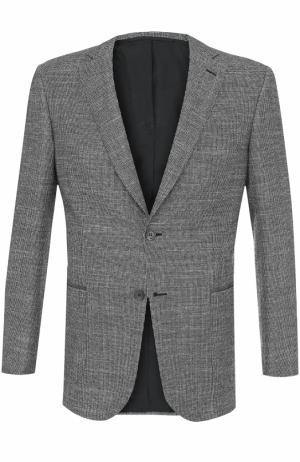 Однобортный пиджак из смеси шерсти и кашемира с шелком Brioni. Цвет: светло-серый