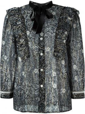 Прозрачная блузка с узором Marc Jacobs. Цвет: синий