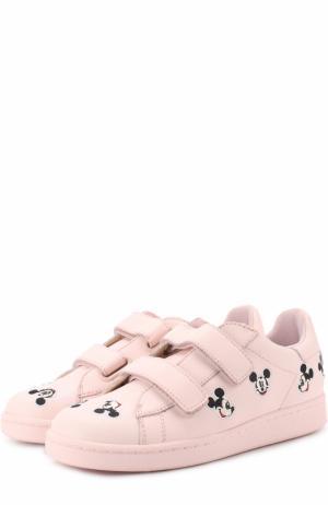 Кожаные кеды с застежками велькро и нашивками MOA. Цвет: розовый