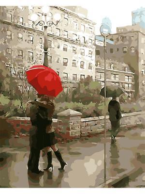 Наборы для рисования (40*50) Красный зонт худ.Даниель Дел Орфано Menglei. Цвет: белый