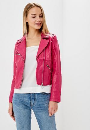 Куртка кожаная Laura Jo. Цвет: розовый