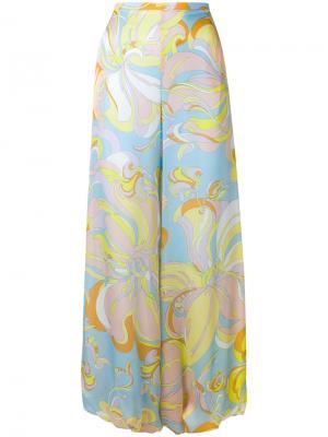 Расклешенные брюки с абстрактным принтом Emilio Pucci. Цвет: розовый и фиолетовый
