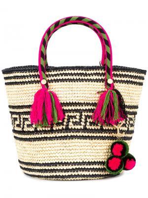 Плетеная сумка-тоут Kolet Yosuzi. Цвет: чёрный