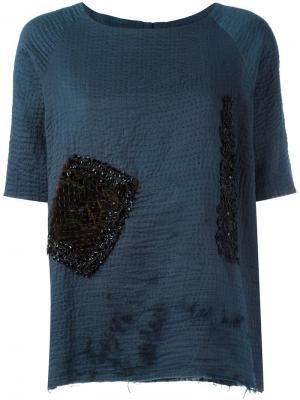 Декорированная футболка By Walid. Цвет: синий