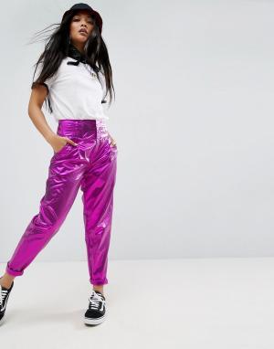 ASOS Брюки-галифе цвета металлик с высокой талией. Цвет: розовый