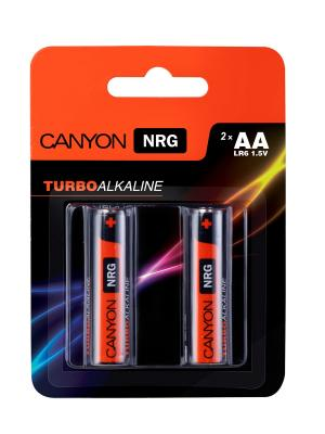 Батарейки, Canyon NRG alkaline battery AA, 2pcs/pack.. Цвет: черный