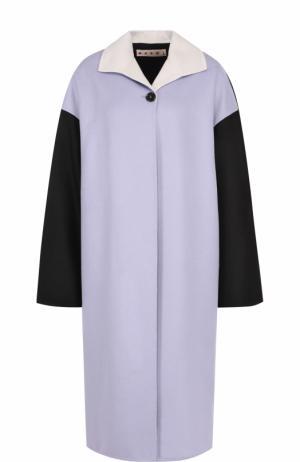 Пальто свободного кроя из смеси шерсти и кашемира Marni. Цвет: светло-фиолетовый