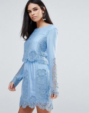 The Jetset Diaries Кружевное платье мини с длинными рукавами Verona. Цвет: кремовый