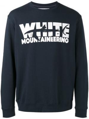 Толстовка с принтом логотипа White Mountaineering. Цвет: синий