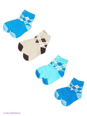 Носки, 4 пары Гамма. Цвет: синий, бирюзовый, бежевый