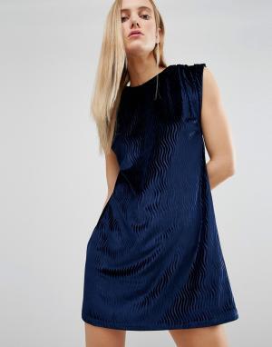 House of Holland Бархатное платье. Цвет: темно-синий