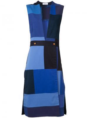Лоскутное платье без рукавов Rodebjer. Цвет: синий