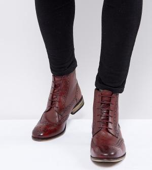 ASOS Бордовые броги на шнуровке для широкой стопы. Цвет: красный