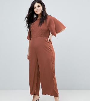Fashion Union Plus Комбинезон с рукавами-кимоно и присборенной вставкой Plu. Цвет: коричневый
