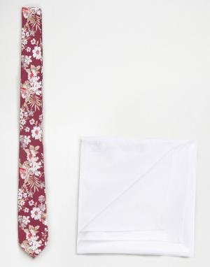 ASOS Розовый галстук с цветочным принтом в комплекте белым платком-паше A. Цвет: розовый