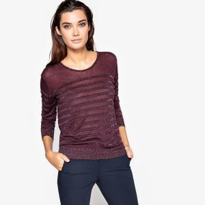 Пуловер в блестящую полоску La Redoute Collections. Цвет: сливовый/разноцветный металлик,темно-синий/синий металлик