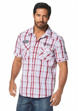 Рубашка с короткими рукавами MANS WORLD MAN'S. Цвет: белый/красный в клетку