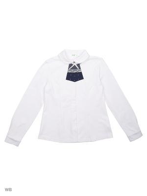 Блузка LIK. Цвет: темно-синий, белый